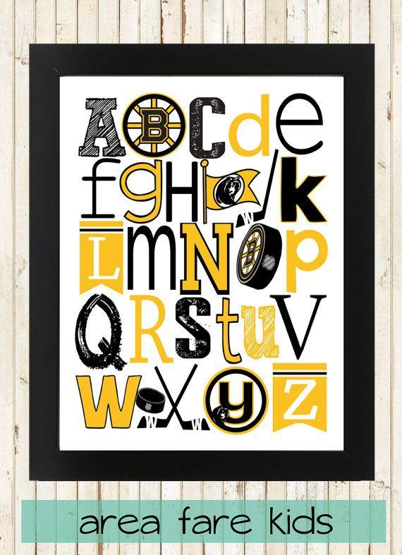 Boston Bruins ABC nursery art print from Area Fare Kids Hockey collection. ... https://www.etsy.com/listing/231104913/boston-bruins-nhl-hockey-abc-art-print