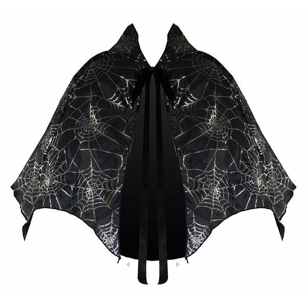 Victorian Vagabond Gothic Game of Thrones Spider Web Steampunk Capelet... ($19) ❤ liked on Polyvore featuring home, lighting, black lights, black lamp, silver lamps, silver lights and onyx lamp