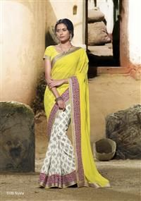 Marvelous pink broad embroidered border on the half-half saree... elegance with simplicity!