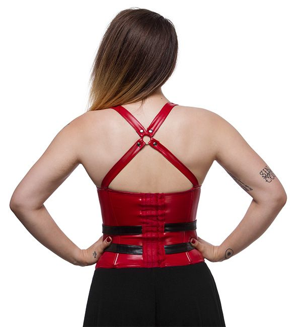Unhealthy relationships are the worst. Good thing there's nothing unhealthy about our relationship with this corset, based on Harley Quinn's look in the Batman: Arkham game series. It's vegan leather, so the stains just wipe away - even puddin'.