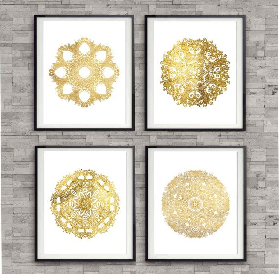 Circle Design Elements in Shiny Gold, Bedroom Art Prints, Poster Art Print, Whimsical Prints, Gold Prints, Wall Decor Prints