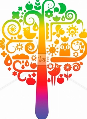 Rainbow tree with ecological icons Stock Illustration