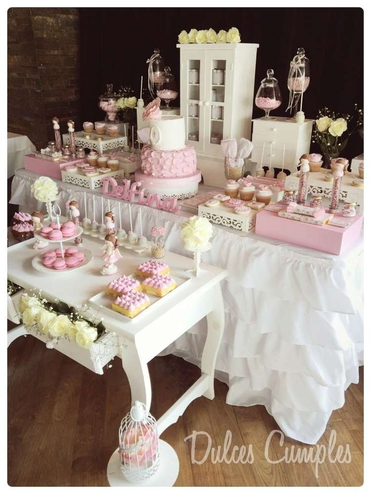 Gorgeous pink shabby chic baptism party! See more party planning ideas at CatchMyParty.com!