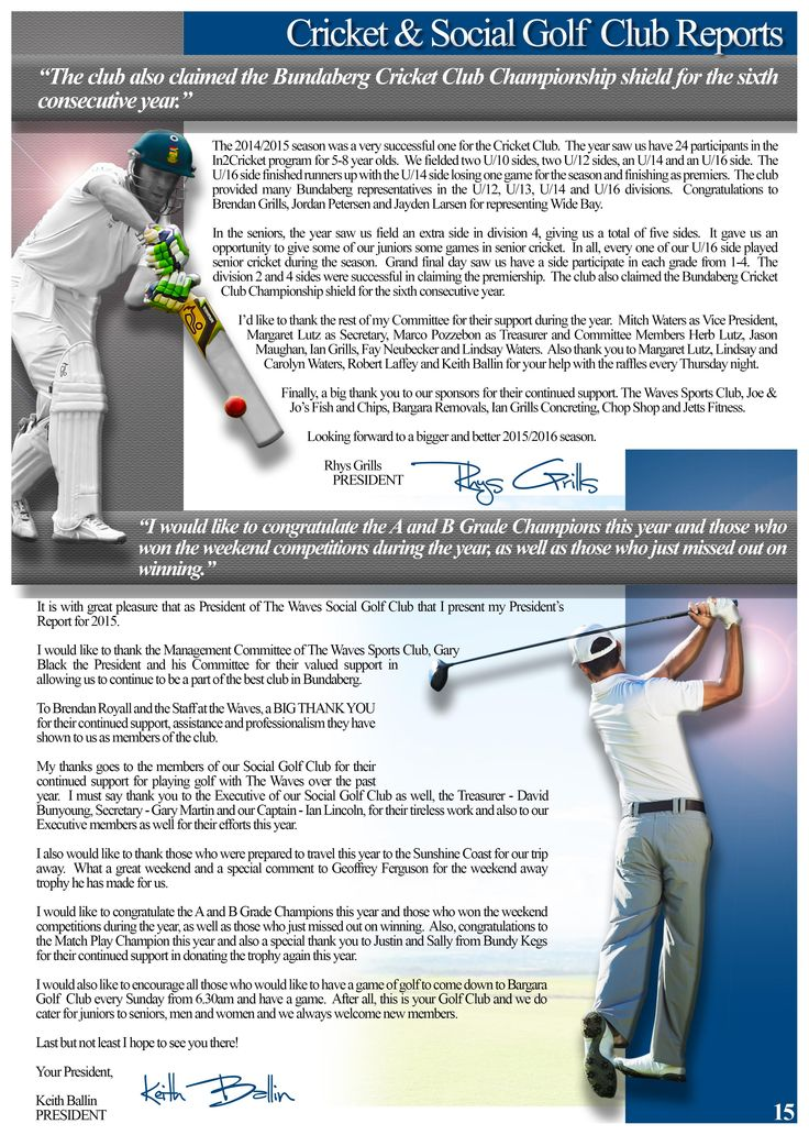 Annual Report Page 15 (Sub Club Reports). Would you like a design like this for your business? Email: art3sian@gmail.com