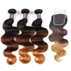 3 or 4 bundles 10A Brazilian Malaysian Peruvian Indian virgin ombre body wave sew in human hair weave extensions