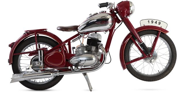 A collection of motorcycles Jawa