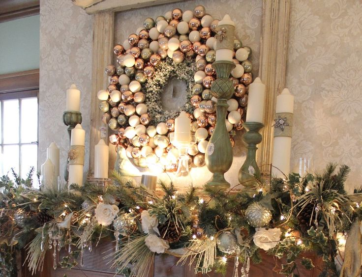 255 best mantel\/staircase \/garland ideas images on Pinterest - christmas decorations for mantels