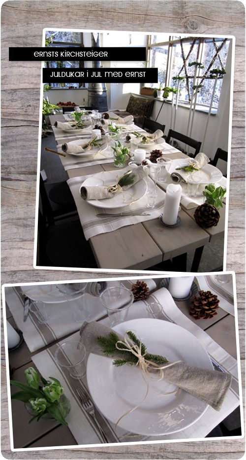Christmas table decor with beige, white, linen, green