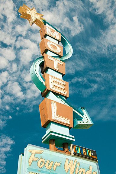 Four Winds Motel Sign in Durango, Colorado. Vintage Neon Motel Sign Holiday Photo Sky by studioMphotodesign