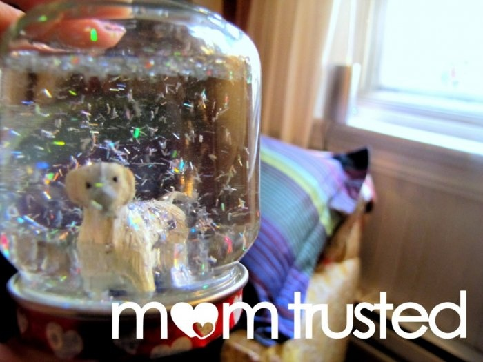 DIY Snow Globe! How to make your own snow globe at home. I always wondered what that white stuff was inside and how to get it in there. I just may make one myself! #ad