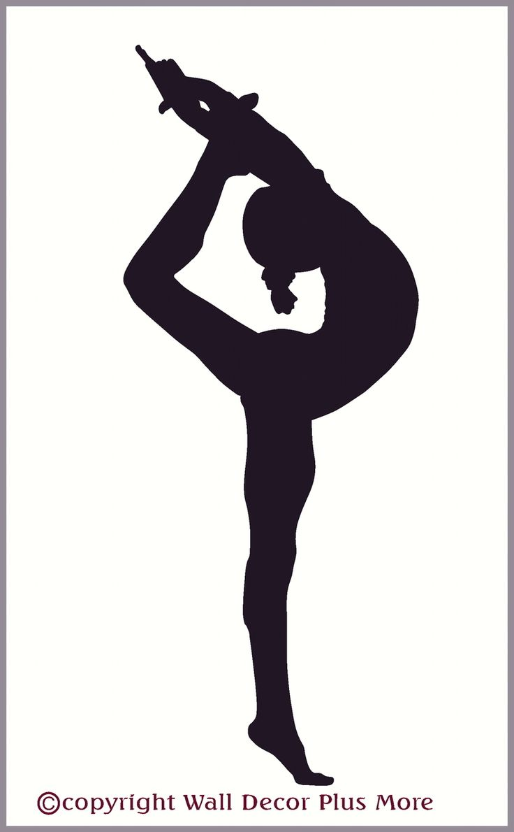 stretching gymnast silhouette girls wall sticker