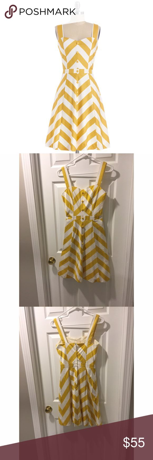 """Modcloth bea and dot retro chevron print dress Brand bea and dot for modcloth """"atta twirl"""" retro dress. Features decorative buttons down the front and it has pockets! Zips in back. In excellent condition, like new. Tag reads size 2. ModCloth Dresses"""