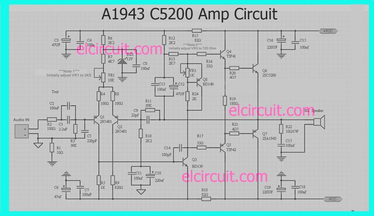 Amplifier Circuit Diagrams 1000w A1943 C5200 Power Amplifier Circuit En 2019 Bar