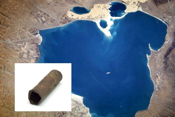 150,000-Year-Old Pipes Baffle Scientists in China: Out of Place in Time? In a mysterious pyramid in China's Qinghai Province near Mount Baigong are three caves filled with pipes leading to a nearby salt-water lake. There are also pipes under the lake bed and on the shore. The iron pipes range in size, with some smaller than a toothpick. The strangest part is that they may be about 150,000 years old.