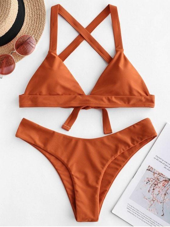 Criss Cross Padded Plain Bikini Swimsuit ORANGE SALMON PEACOCK BLUE