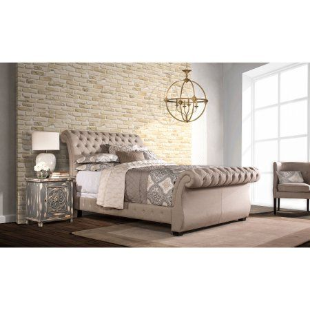 Hillsdale Furniture Bombay Queen Bed, Linen Stone, White