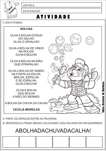 Atividade Poesia Bolhas Cecília Meireles Consciência Fonológica