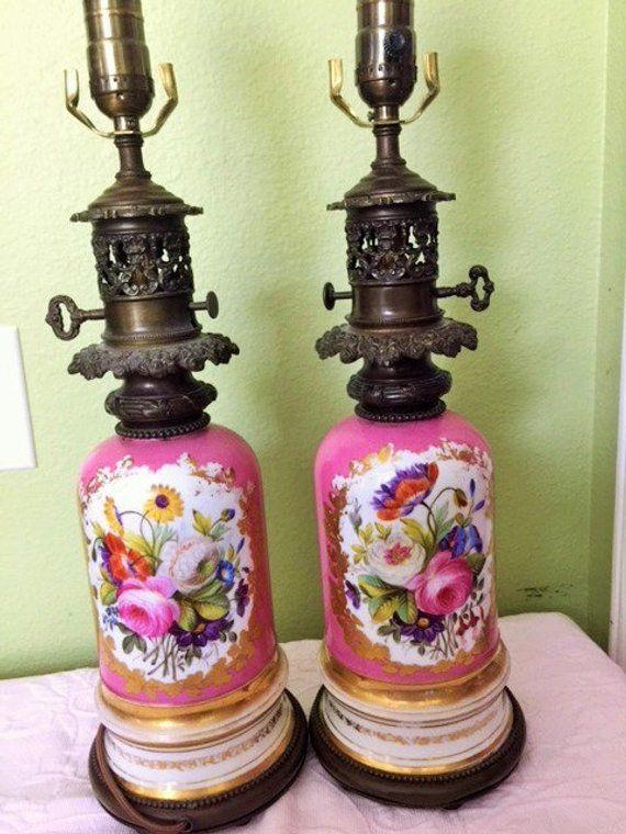 Sale Antique French Porcelain Lamps Pair Serves Pink Paris Roses Floral Handpainted Gold Gilt Table Lamps E Porcelain Lamp Porcelain Painting Antique Porcelain