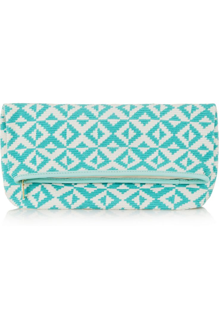 Sophie Anderson | Abril leather-trimmed crocheted cotton clutch | NET-A-PORTER.COM