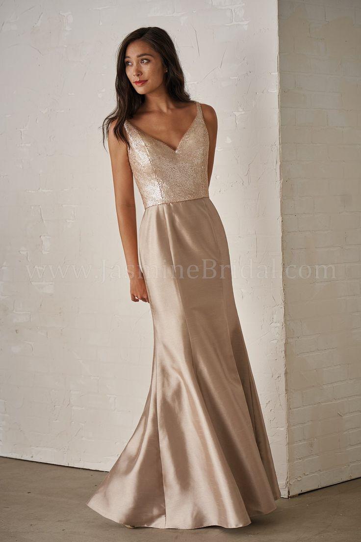Jasmine Bridal | Jasmine Bridesmaids Style P206011 in Light Gold/Latte | Sequin/Satin Back Dupioni | Fit & Flare Bridesmaid Dress | Sweetheart Neckline | V-back |Sexy Side Slit Front