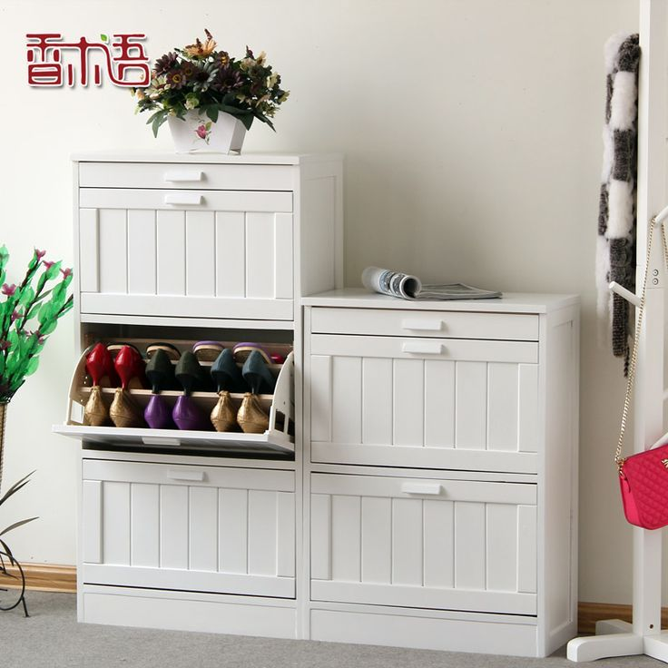 Solid Wood Shoe Cabinet Furniture Modern Minimalist Super Slim Flip  Entrance Admission From Installed Shoe Racks