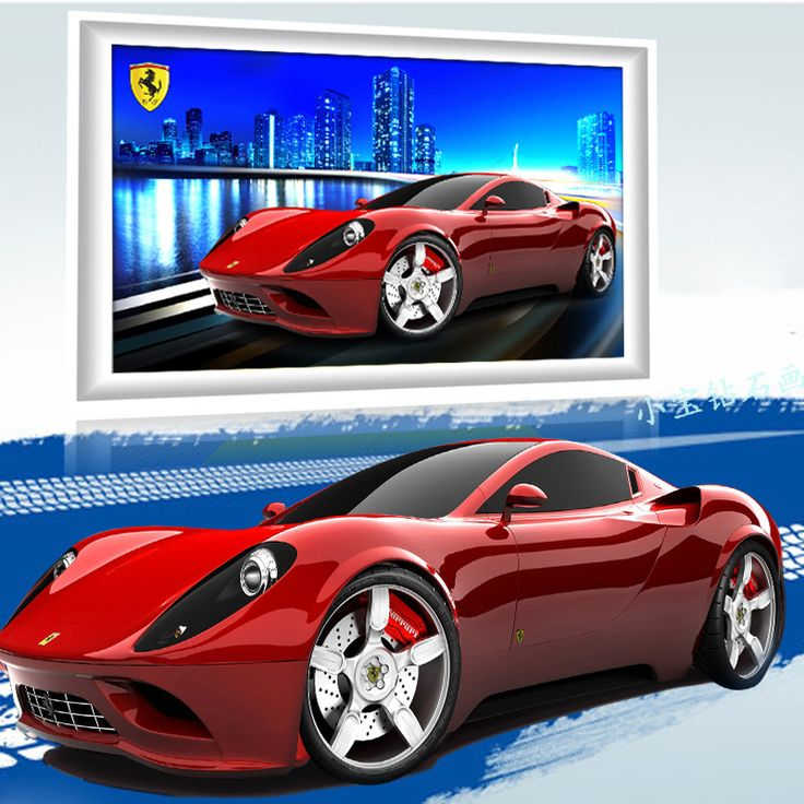 Ferrari 5d Diy Diamond Painting Pasted Embroidery Full Drill Resin Ribbon Painting Cross Stitch Car Crafts Wall Sticker Decor //Price: $51.23 & FREE Shipping //     #hashtag2