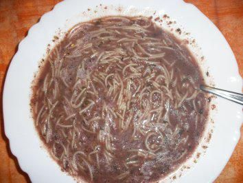 """Home made sausage soup with vermicelli"" - Recipe calls for one can of blood sausage and one can of liver sausage."
