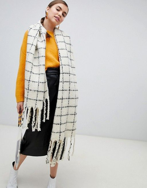 Monki Grid Scarf In Black And White Fav Clothes Monki Black