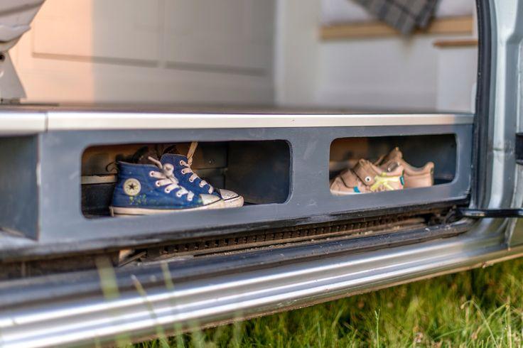 Interior of cool camper van conversion at www.thismovinghouse.co.uk shoe stash