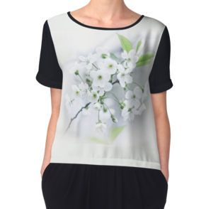 Women's Chiffon Top, photo, photography, artwork, buy, sale, gift ideas, redbubble, cherry, cherry blossoms, freshness, green leaves, spring flowers, spring trees, tenderness, white flowers, white petals, young, springtime, spring, woman, girl, fashion, buy, clothing