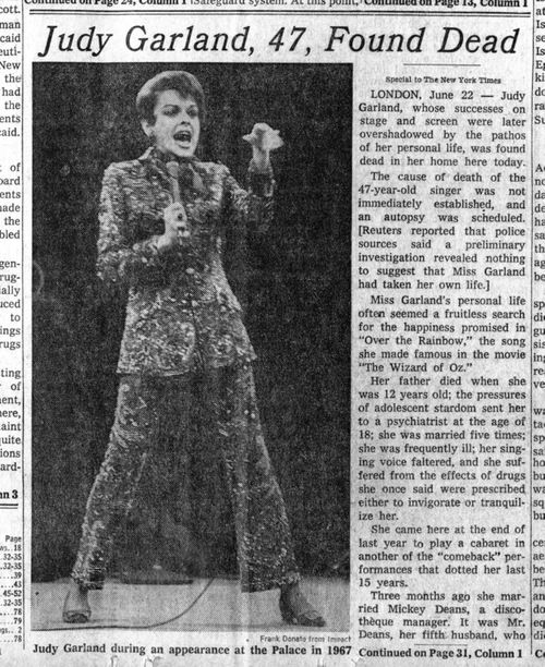 Judy Garland 1969 | Judy Garland, 47, Found Dead - New York Times - June 22, 1969