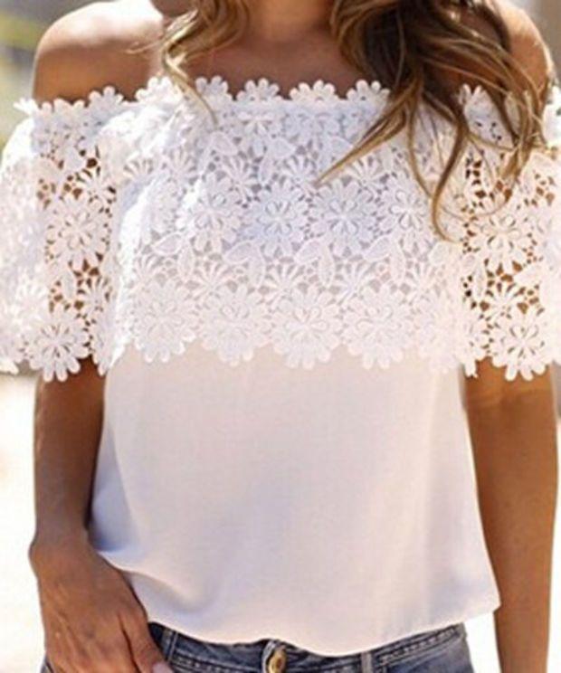 White Off Shoulder Floral Knit Top