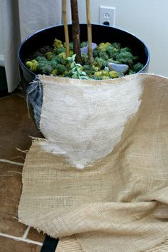 recover the plastic pots with fabric.  duh.  why have i not considered this?