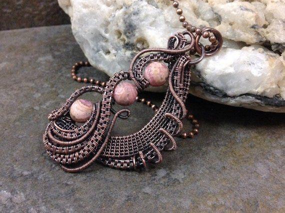 Rhodochrosite Pendant Wirewrapped Rhodochrosite Rhodochrosite Antiqued Copper Necklace