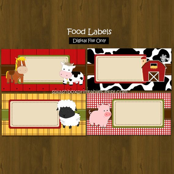 Barn Printable Food Labels - Barnyard Farm Animals Party Place Cards or Food Labels (Tent Cards) - INSTANT DOWNLOAD