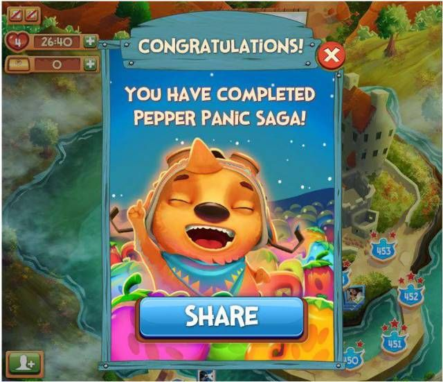 Pepper Panic Saga Episode 31 is the last levels in the game. After you reach level 460 the saga is complete. It is sad to see it go, but it was a great game. http://pepperpanictips.com/pepper-panic-saga-episode-31/