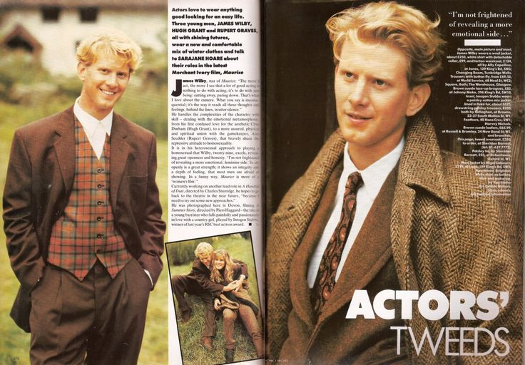 James Wilby, in a tweed and cashmere fashion shoot, British Vogue, November 1987.  Photography by Eamonn J McCabe and Johnny Rozsa.