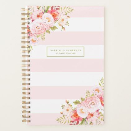 Feminine Pink Stripes and Peonies Custom Planner  $23.20  by KeikoPrints  - cyo customize personalize diy idea