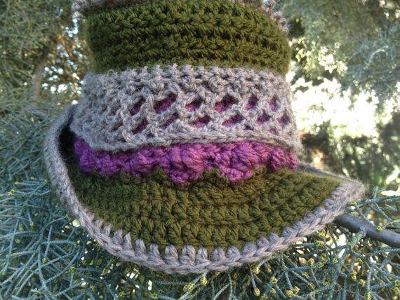 Crochet hat  steampunk Top Hat OOAK Christmas by PixiesFairies