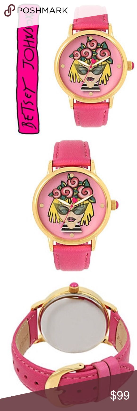 Betsey Johnson Betseyest Betsey Pink Emoji Watch Roses emoji motif watch Ladies round polished gold tone case Pink lenticular printed dial Metal dot hour markers Quartz movement Pink genuine leather strap Signature Betsey Johnson fuchsia second hand Water Resistant: 3ATM Buckle closure Case Size: 42mm Case Thickness:11mm Strap Length: 155-200mm Strap Width:20mm Betsey Johnson Accessories Watches