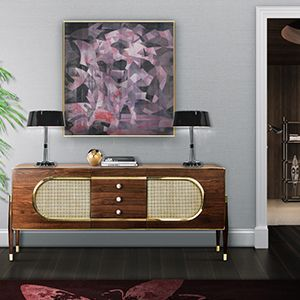 Dandy is a sleek and stylish sideboard. Since it is very versatile, it can be used as a drinks cabinet and be placed both in a living or dressing room. Its body is entirely made of solid walnut wood and it resembles a kitsch radio because of its shape and the use of grill cloth on the doors. It is accented by a brass trim on the body edges and supported by tapered legs with brass ferrules. The best from scandinavian design roots.  Discover more: https://goo.gl/cZddZ1