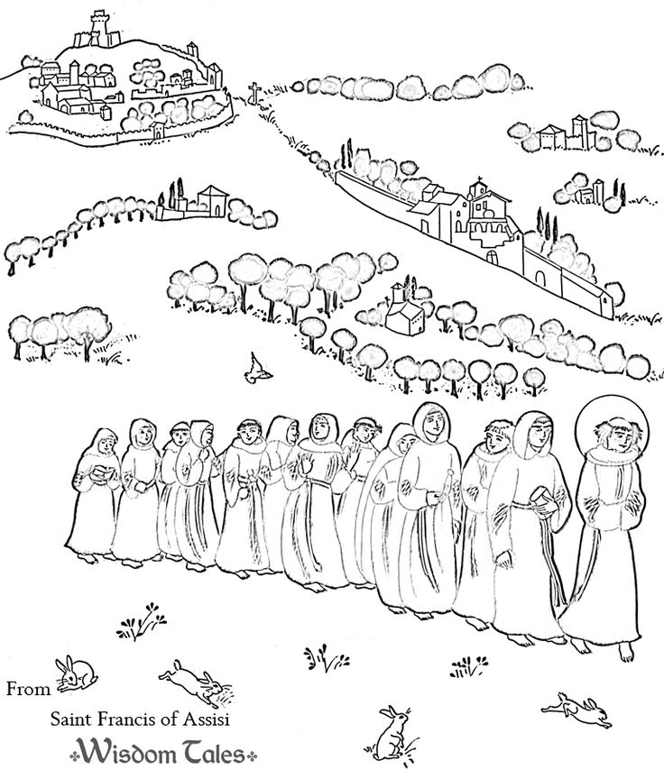 Free coloring page a line of monks following st francis for St francis of assisi printable coloring page