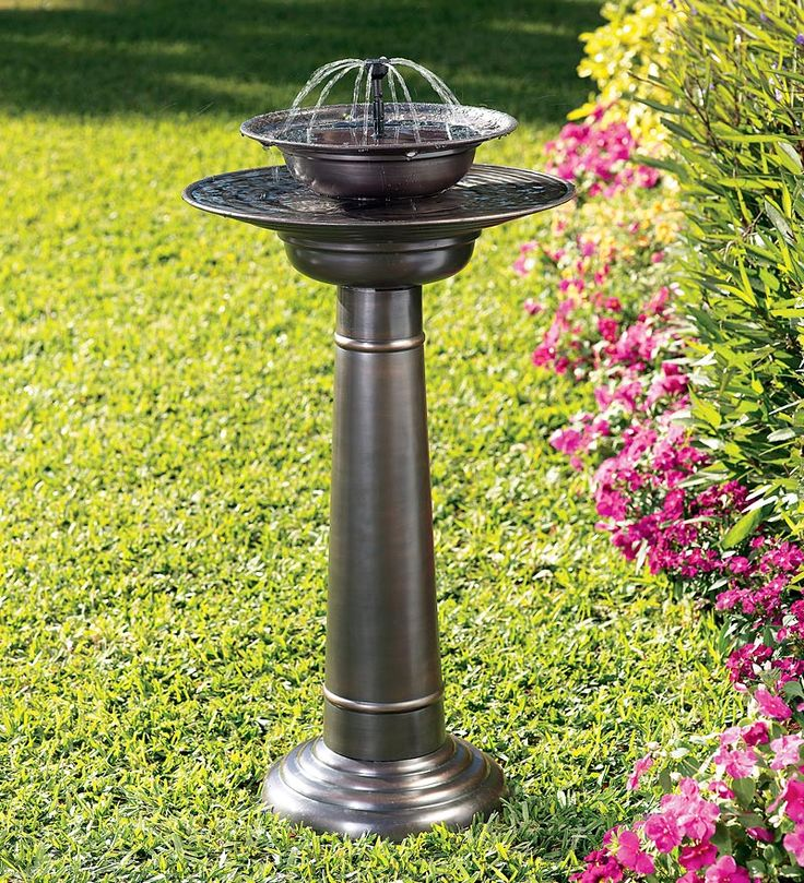 Solar-Powered Two-Tier Stainless Steel Fountain Birdbath with Shower and Bubbling Fountain Heads