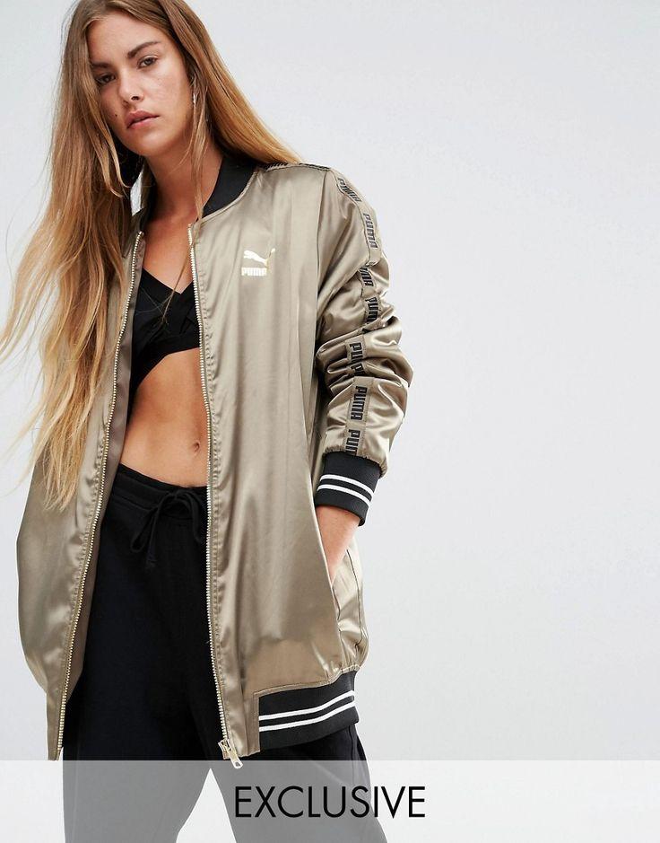 Puma+Exclusive+To+ASOS+Longline+Khaki+Bomber+Jacket