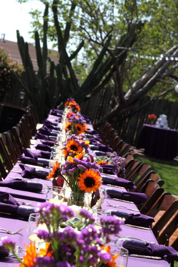 Sunflowers & lavender in mason jars... add some wheat, burlap, and arrangements of purple grapes, figs, plums, persimmons, and different colored pumpkins in large cornucopia centerpiece = perfect fall tablescape!