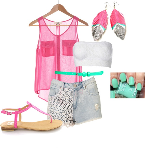 """Neon Shiine"" by danicashea on Polyvore: Pink Accessories, Pink Shorts, Summer Fashion, Pink Colors, Summer Style, Fashion Accessories, Cute Summer Outfits, Neon Shiin, Fashion Sho"
