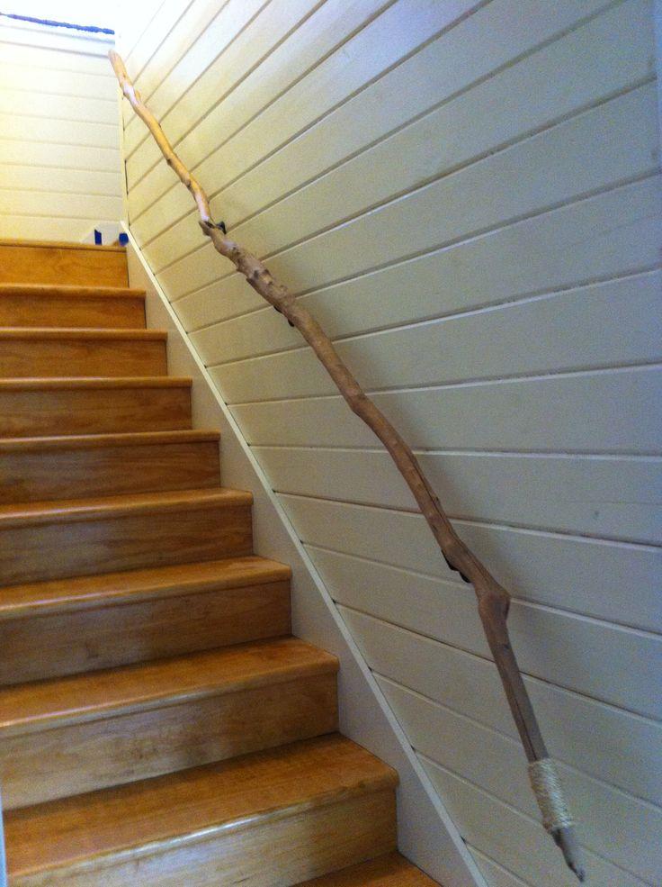 Charming Driftwood Stair Rail From Hurricane Isaac