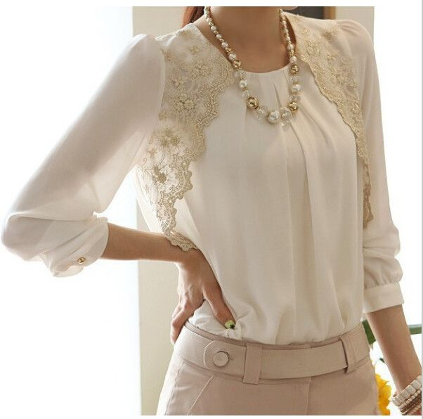 Fashion Chiffon Shirts New Turn-down Collar White Blouse Brand Women Lace Loose Plus Size Office Lady Casual Blouses S-XXL
