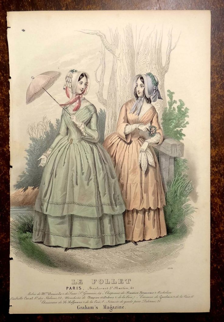 LE FOLLET 1845 Hand-Colored Fashion Plate #1256 Gowns in Peach & Green PRINT | eBay