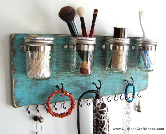"Hair Accessory Organizer; Flat Iron Holder; Curling Iron Hanger; Teal Decor; Mason Jar Decor;  18"" long; Custom orders welcome!"
